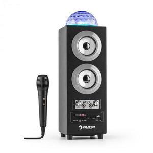 Auna DiscoStar Silver, hordozható 2.1 bluetooth hangfal, USB, akkumulátor, LED, mikrofon kép