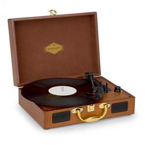 Nostalgy By Auna Peggy Sue retró lemezjátszó, gramofon, USB, AUX, fa hatás/arany kép