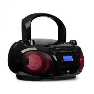 Auna Roadie DAB, CD lejátszó, DAB/DAB+, FM, LED diszkó fényeffektus, bluetooth, fekete kép