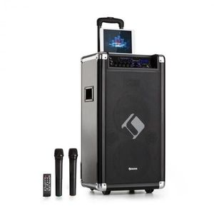 "Auna Moving 120, PA rendszer, 2x8"" woofer, max. 60 / 200 W, VHF mikrofon, USB, SD, BT, AUX, hordozható kép"