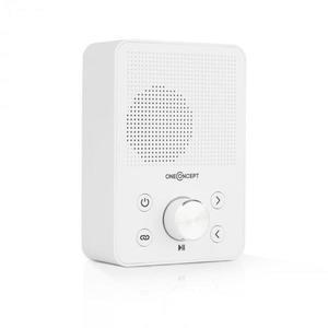 OneConcept Plug+Play FM, aljzatba szúrható rádió, FM tuner, USB, BT, fehér kép