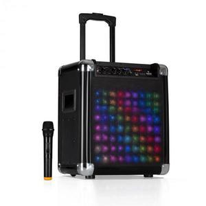 "Auna Moving 80.2 LED, PA rendszer, 8""-es woofer, max. 100 W, VHF mikrofon, USB, SD, BT, AUX, hordozható kép"