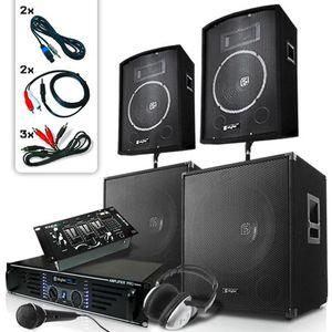 Skytec Bass Mountain USB, DJ PA rendszer, 2000 W, 4 x hangfal, erősítő, keverő kép
