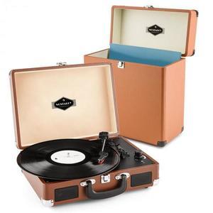 Auna auna Peggy Sue Record Collector szett, barna | retró lemezjátszó |lemeztartó bőrönd kép
