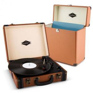 Auna Jerry Lee Record Collector szett, barna | retró lemezjátszó |lemeztartó bőrönd kép