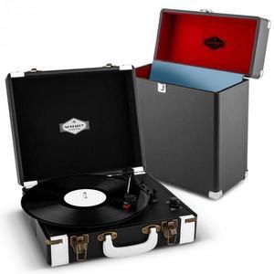Auna Jerry Lee Record Collector szett, fekete | retró lemezjátszó |lemeztartó bőrönd kép
