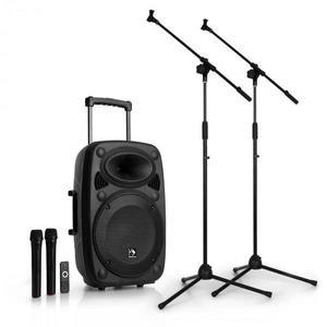 """Auna Streetstar 12 mobil PA mikrofon állvány készlet, 12""""-es PA berendezés, 2 x mikrofon kép"""