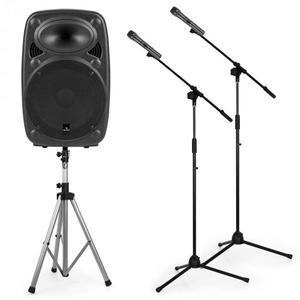 """Auna Streetstar 12 mobil PA készlet, 12""""-es PA állvány hangfalra, 2 x mikrofon állvány kép"""
