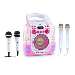 Auna Kara Liquida karaoke rendszer, rózsaszín + Dazzl karaoke mikrofon készlet, LED megvilágítás kép