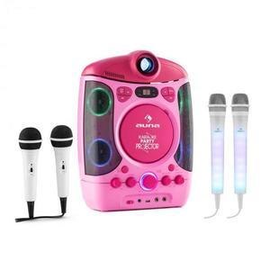 Auna Kara Projectura karaoke rendszer, rózsaszín + Dazzl mikrofon készlet, LED megvilágítás kép