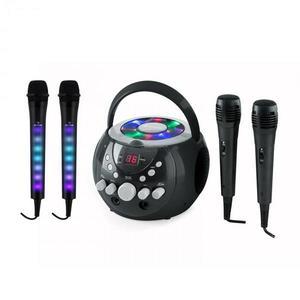 Auna SingSing karaoke rendszer, fekete + Dazzl mikrofon szett, LED megvilágítás kép