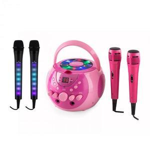 Auna SingSing karaoke rendszer, rózsaszín + Dazzl mikrofon szett, LED megvilágítás kép
