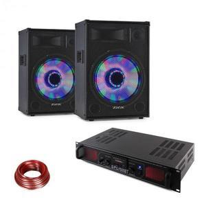 Fenton LED15BT, DJ PA szett, 2 x PA hangfal, Skytec HiFi erősítő, hangfal kábel kép