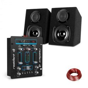 Resident DJ DJ-25, DJ keverőpult + Auna ST-2000 hangfal szett, fekete/kék kép
