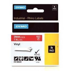 Dymo 1805429, 24mm x 5, 5m, fehér nyomtatás / piros alapon, eredeti szalag kép