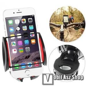 UNIVERZÁLIS telefon tartó kerékpár / bicikli - 360°-ban forgatható - 50-90 mm-ig nyíló bölcsővel - FEKETE / PIROS kép