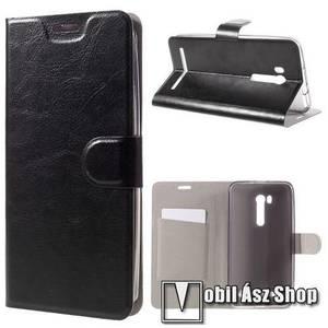 Notesz tok / flip tok - FEKETE - asztali tartó funkciós, oldalra nyíló, rejtett mágneses záródás, bankkártya tartó, szilikon belső - ASUS ZenFone GO TV (ZB551KL) kép