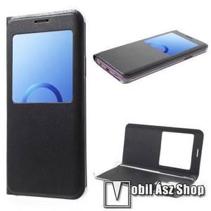 Notesz / flip tok - FEKETE - oldalra nyíló ablakos flip cover, műanyag belső - SAMSUNG SM-G965 Galaxy S9+ kép