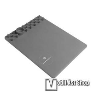 Egérpad - beépített Qi Wireless vezetéknélküli töltő és asztali tartó funkcióval - 1A - SZÜRKE kép