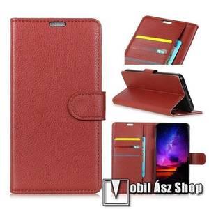 Notesz tok / flip tok - BARNA - asztali tartó funkciós, oldalra nyíló, rejtett mágneses záródás, bankkártyatartó zseb, szilikon belső - Sony Xperia 1 kép
