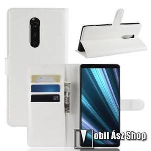 Notesz tok / flip tok - FEHÉR - asztali tartó funkciós, oldalra nyíló, rejtett mágneses záródás, bankkártyatartó zseb, szilikon belső - Sony Xperia 1 kép