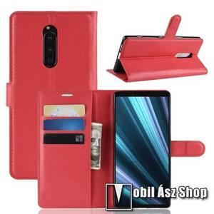 Notesz tok / flip tok - PIROS - asztali tartó funkciós, oldalra nyíló, rejtett mágneses záródás, bankkártyatartó zseb, szilikon belső - Sony Xperia 1 kép
