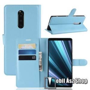 Notesz tok / flip tok - KÉK - asztali tartó funkciós, oldalra nyíló, rejtett mágneses záródás, bankkártyatartó zseb, szilikon belső - Sony Xperia 1 kép