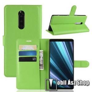 Notesz tok / flip tok - ZÖLD - asztali tartó funkciós, oldalra nyíló, rejtett mágneses záródás, bankkártyatartó zseb, szilikon belső - Sony Xperia 1 kép