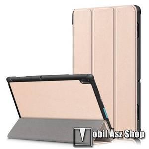 Notesz / mappa tok - ARANY - oldalra nyíló flip cover, TRIFOLD asztali tartó funkciós, erősített sarkok, mágneses záródás, műanyag belső - Lenovo Tab E10 (TB-X104F) kép