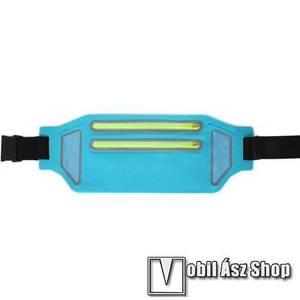 """UNIVERZÁLIS ÖVTÁSKA - KÉK - állítható pánt, ultravékony, vízálló, cipzár, több fakkos, fülhallgató és kulcstartó zseb - 335 x 130 mm, max. 6, 5""""-os készülékekhez kép"""