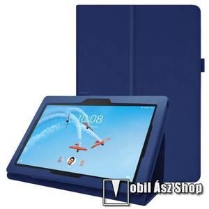 Notesz tok / mappa tok - SÖTÉTKÉK - asztali tartó funkciós, oldalra nyíló, tolltartó, műbőr belső - Lenovo Tab E10 kép