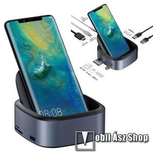 BASEUS Mate asztali töltő / dokkolóállomás - 8 portos bővítés, HDMI 4K / 30Hz-es támogatás, 3x USB3.0 port 5Gbps, Type-C PD 49W port, gyorstöltés támogatás, SD/MicroSD kártyaolvasó, 3, 5mm-es jack aljzat - SZÜRKE - GYÁRI kép
