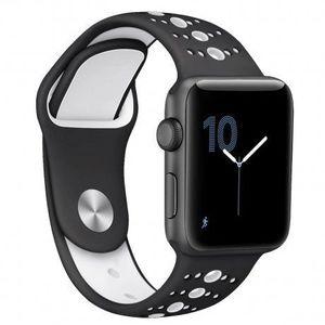 Apple Watch Silicone Sport 38/40mm szíj, Black White kép