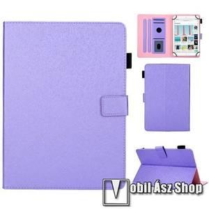 """UNIVERZÁLIS notesz / mappa tablet PC tok - LILA - álló, bőr, rejtett mágneses záródás, bankkártyatartó zsebek, asztali tartó funkciós, ceruzatartó, 7""""-os készülékekhez kép"""