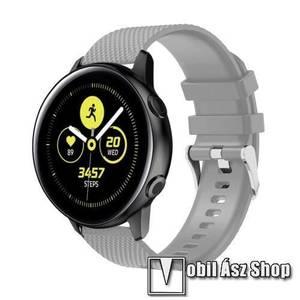 Okosóra szíj - szilikon, rombusz mintás - SZÜRKE - 130mm-től 200mm-es méretű csuklóig ajánlott, 90mm + 105mm hosszú, 20mm széles - SAMSUNG Galaxy Watch 42mm / Xiaomi Amazfit GTS / HUAWEI Watch GT / SAMSUNG Gear S2 / HUAWEI Watch GT 2 42mm / Galaxy Watch A kép