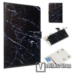 """UNIVERZÁLIS notesz / mappa tablet PC tok - FEKETE MÁRVÁNY MINTÁS - álló, bőr, mágneses, asztali tartó funkciós, belső zsebek, 10""""-os készülékekhez kép"""