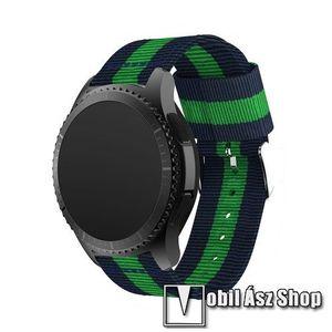 Okosóra szíj - SÖTÉTKÉK / ZÖLD - Szövet - 95mm + 81mm hosszú, 22mm széles - SAMSUNG Galaxy Watch 46mm / SAMSUNG Gear S3 Classic / SAMSUNG Gear S3 Frontier kép