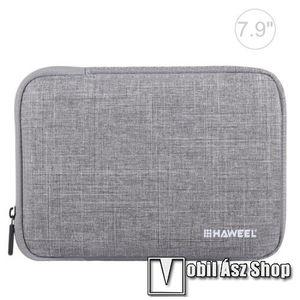 """HAWEEL Tablet / Laptop UNIVERZÁLIS tok / táska - SZÜRKE - Szövet, bársony belső, 2 különálló zsebbel, ütődésálló, vízálló - ERŐS VÉDELEM! - 7, 9""""-os készülékekig használható, 210 x 145 x 20 mm kép"""