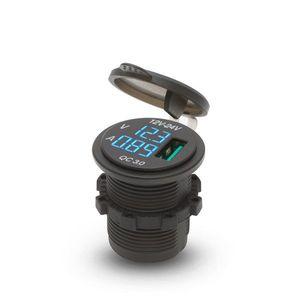 Szivargyújtó helyére beépíthető USB aljzat LED feszültségkijelzéssel kék - csavaros 1 x USB - 5V - 2, 1A kép