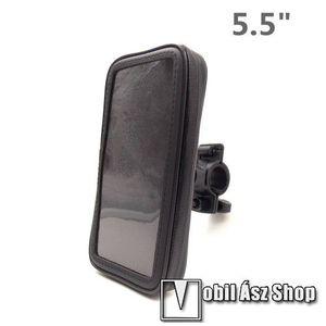 """UNIVERZÁLIS biciklis / kerékpáros tartó konzol mobiltelefon készülékekhez - 5.5"""" méretig / 158 x 78 mm-es bölcső, cseppálló védő tokos kialakítás - FEKETE kép"""