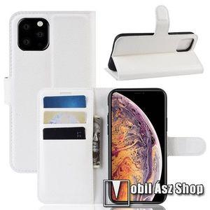 WALLET notesz tok / flip tok - FEHÉR - asztali tartó funkciós, oldalra nyíló, rejtett mágneses záródás, bankkártyatartó zseb, szilikon belső - APPLE iPhone 11 Pro Max kép