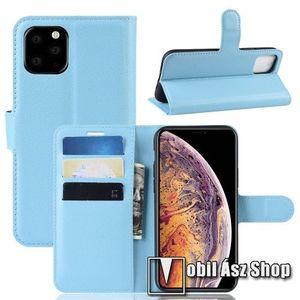 WALLET notesz tok / flip tok - VILÁGOSKÉK - asztali tartó funkciós, oldalra nyíló, rejtett mágneses záródás, bankkártyatartó zseb, szilikon belső - APPLE iPhone 11 Pro Max kép