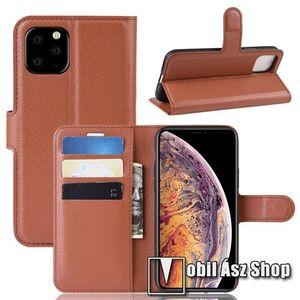 WALLET notesz tok / flip tok - BARNA - asztali tartó funkciós, oldalra nyíló, rejtett mágneses záródás, bankkártyatartó zseb, szilikon belső - APPLE iPhone 11 Pro Max kép