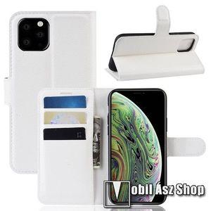 WALLET notesz tok / flip tok - FEHÉR - asztali tartó funkciós, oldalra nyíló, rejtett mágneses záródás, bankkártyatartó zseb, szilikon belső - APPLE iPhone 11 Pro kép