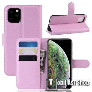 WALLET notesz tok / flip tok - RÓZSASZÍN - asztali tartó funkciós, oldalra nyíló, rejtett mágneses záródás, bankkártyatartó zseb, szilikon belső - APPLE iPhone 11 Pro kép