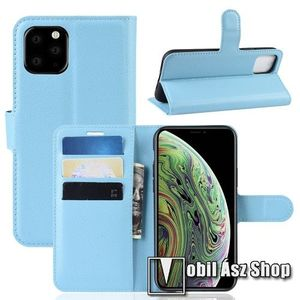 WALLET notesz tok / flip tok - VILÁGOSKÉK - asztali tartó funkciós, oldalra nyíló, rejtett mágneses záródás, bankkártyatartó zseb, szilikon belső - APPLE iPhone 11 Pro kép