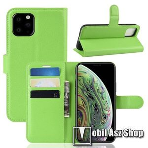 WALLET notesz tok / flip tok - ZÖLD - asztali tartó funkciós, oldalra nyíló, rejtett mágneses záródás, bankkártyatartó zseb, szilikon belső - APPLE iPhone 11 Pro kép