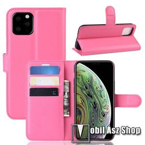 WALLET notesz tok / flip tok - MAGENTA - asztali tartó funkciós, oldalra nyíló, rejtett mágneses záródás, bankkártyatartó zseb, szilikon belső - APPLE iPhone 11 Pro kép
