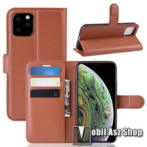WALLET notesz tok / flip tok - BARNA - asztali tartó funkciós, oldalra nyíló, rejtett mágneses záródás, bankkártyatartó zseb, szilikon belső - APPLE iPhone 11 Pro kép