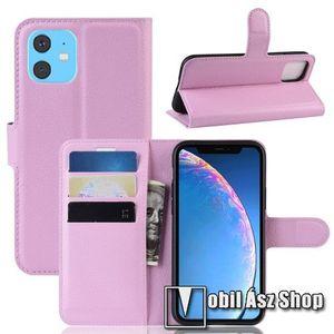 WALLET notesz tok / flip tok - RÓZSASZÍN - asztali tartó funkciós, oldalra nyíló, rejtett mágneses záródás, bankkártyatartó zseb, szilikon belső - APPLE iPhone 11 kép